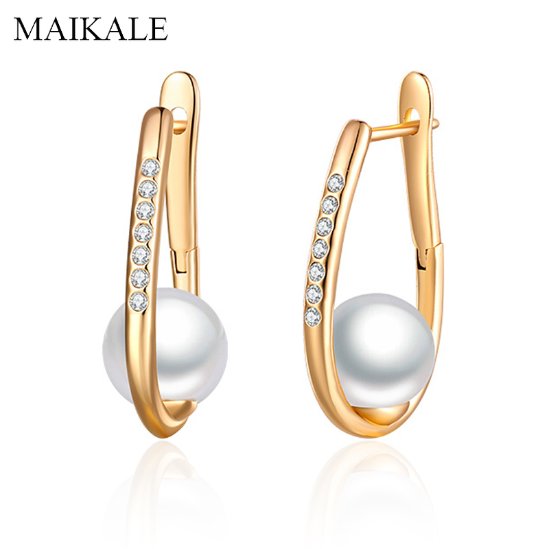 MAIKALE Simple 9MM White Natural Pearl Earrings Rose Gold Zirconia Stud Earrings with Pearl for Women Fine Jewelry Girls Gifts