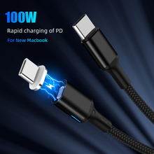 "100W מגנטי פ""ד כבל סוג C כדי USB C 20V 5A מהיר מטען כבל לניו Macbook Pro huawei Matebook USB C 1000 MB/S נתונים כבל"
