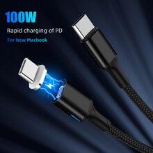 100W magnetyczny kabel PD typ C na USB C 20V 5A szybka ładowarka kabel dla nowego MacBook Pro Huawei Matebook USB C 1000 MB/S kabel danych