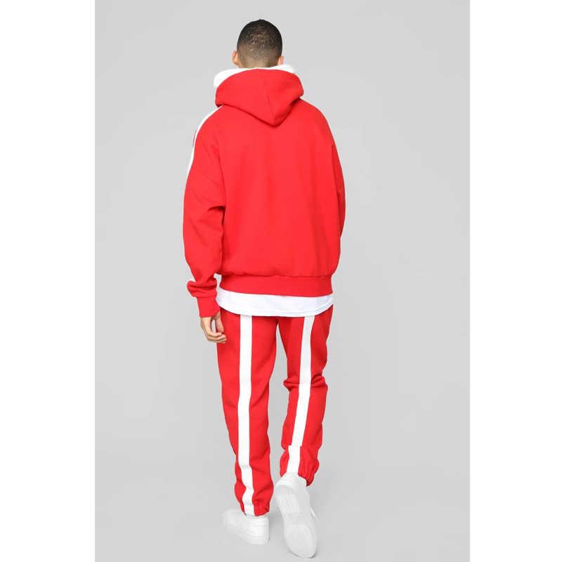 Sonbahar kış eşofman erkekler spor koşu Homme kırmızı iki parçalı seti kapşonlu üst kırpma + uzun pantolon Hip Hop erkek eşofman 2019