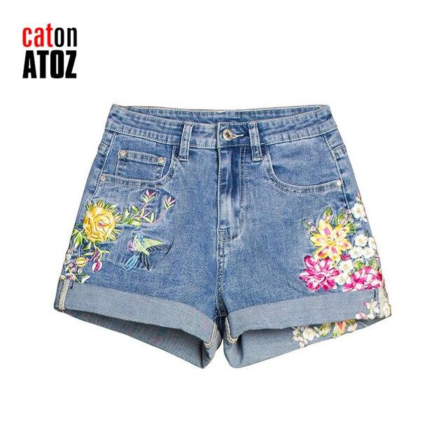 catonATOZ 2258 Women's Fashion Embroidered flower Denim Short Jeans Sexy Punk Sexy Hot Woman Shorts Feminino 1