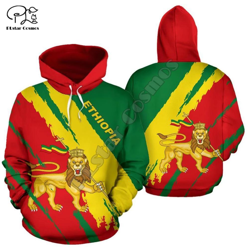 Men Women Ethiopia Full Print 3D Hoodies Funny Country Flag Sweatshirt Fashion Hooded Long Sleeve Zipper Unisex Lion Pullover