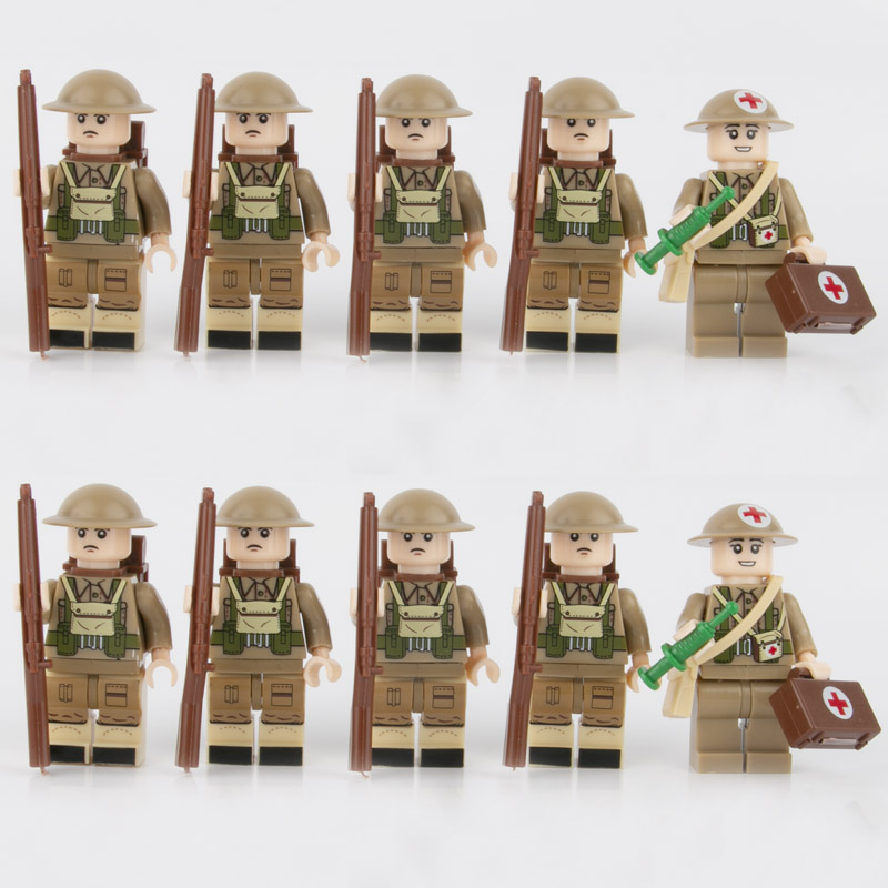 WW2 Military Soldiers British Army Medical Soldier Infantry Figure Field Troops Building Blocks Weapon Gun Bricks Toy Child D138
