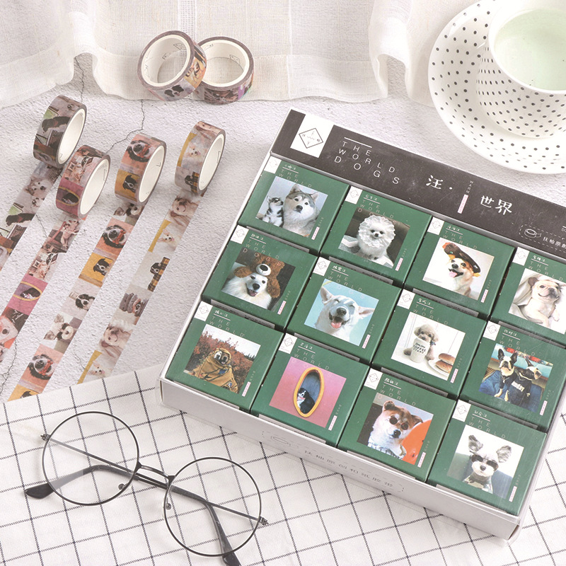 1.5cm Dog World Siberian Husky Bullet Journal Decorative Washi Tape DIY Scrapbooking Masking Craft Tape School Office Supply