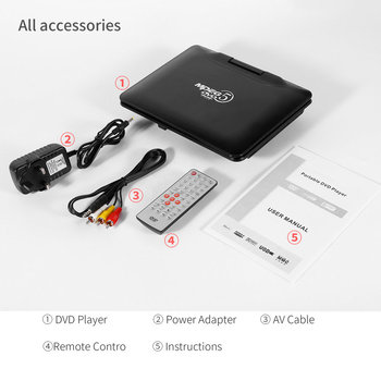 Portable DVD Player with LCD Screen Fully Compatible with MPEG4/DIVX /MP3 /DVD /VCD /CD Connection to TV