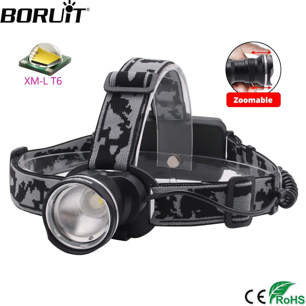 BORUiT RJ-2190 T6 LED Headlamp 3000LM 3-Mode Zoom Powerful Headlight Rechargeable 18650 Waterproof Head Torch Camping Hunting