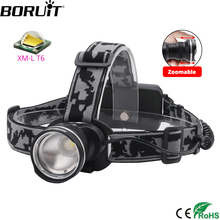 BORUiT RJ 2190 T6 LED Headlamp 3000LM 3 Mode Zoom Powerful Headlight Rechargeable 18650 Waterproof Head Torch Camping Hunting