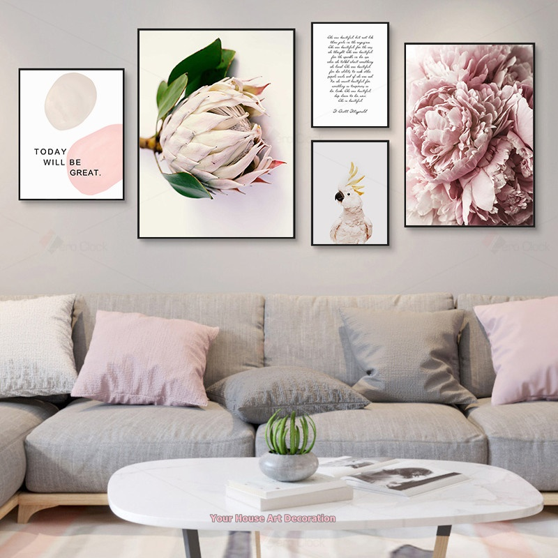 Nordic Canvas Painting Wall Art Poster Pink Flowers Modern Wall Paintings Woman Bedroom Decoration Picture Make Up Home