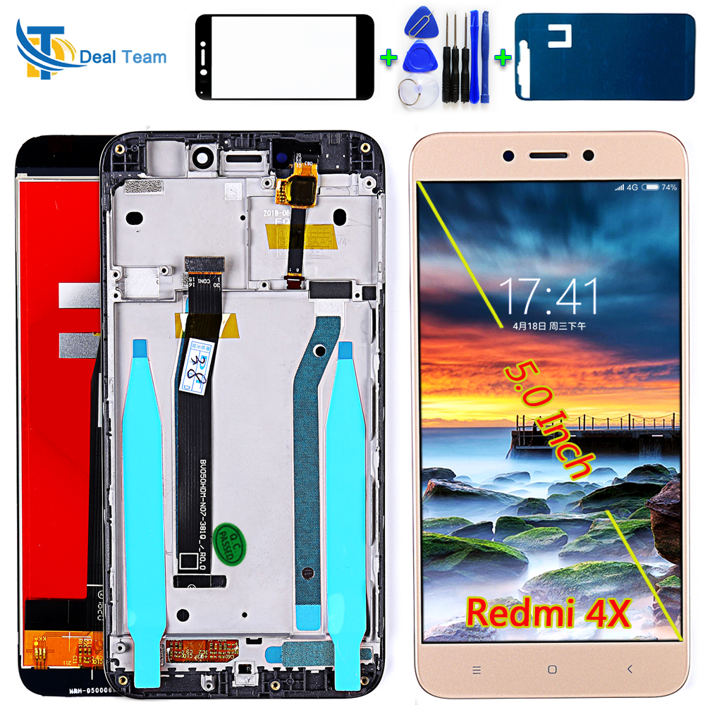 100% Tested IPS LCD Display For Xiaomi Redmi 4X 5.0 Inch Touch Screen Digitizer Assembly Frame With Free Tempered Glass Tools