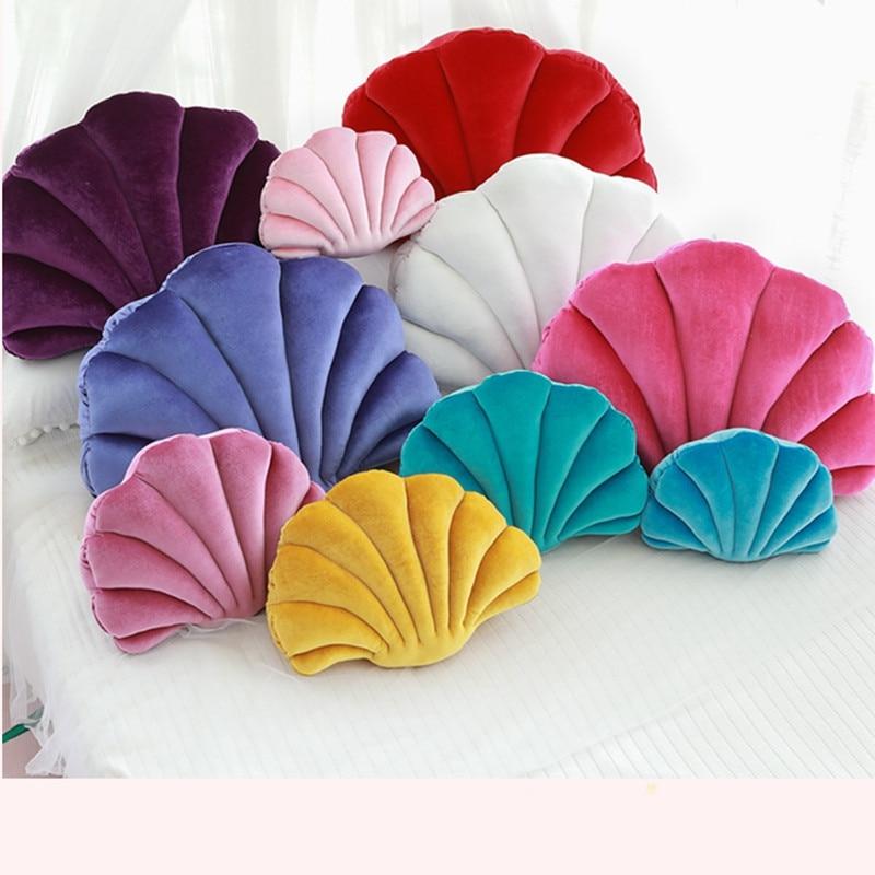 Sea Shell Velvet Back Shell Stuffed Plush Pillow Home Home Bed Sofa Cushion Decoration Plush Toys Gift