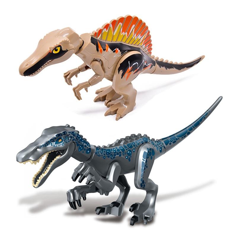 2Pcs Jurassic World Park Raptor Dinosaurs Tanystropheus Spinosaurus Indoraptor Baryonyx Figures Building Blocks Bricks Kids Toys