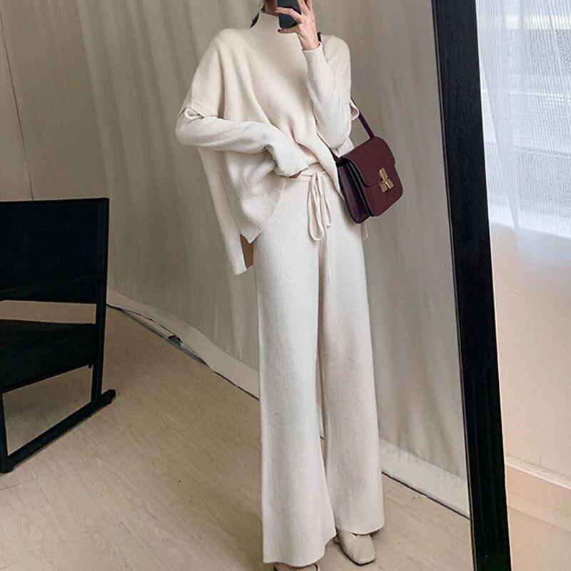 Sweater Set Woman Winter Knit Sweater + Vest + Pant 3 Piece Set Office Lady Suit Turtleneck Knit Set New Sweater For Women 2019
