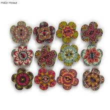 Wooden-Buttons Clothing Crafts-Accessories Scrapbooking Flower-Shape Handwork Sewing