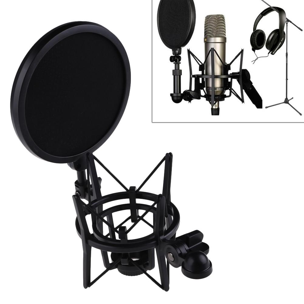 Microphone Mic Professional Shock Mount with Pop Shield Filter Screen