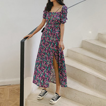 2020 New Floral Side Split Midi Dress for Women Square Collar lady Puff Sleeves