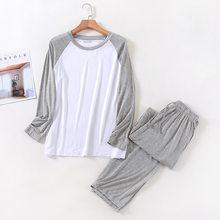 Плюс размер 4XL пижамы спальные костюмы для мужчин полный хлопок длинный рукав брюки реглан рукава пижамы мужские осень зима пижамы