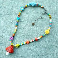 Colliers colorés arc-en-ciel pour femmes et filles, mignon, avec visage souriant, dés, champignon, Cool, Punk, Hip Hop, accessoires de perles en résine