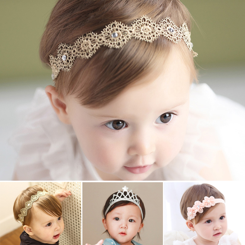 Infant,large flower Pearl//Crystal Headband Baby Girl Accessories