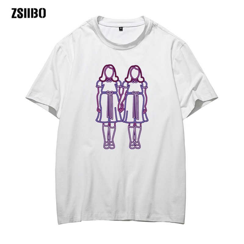 공포 영화 t-셔츠 빛나는 쌍둥이 자리 인쇄 몬스터 스킨 스테레오 남자 t-셔츠 독특한 의류 반팔 Tshirt 남여 의류