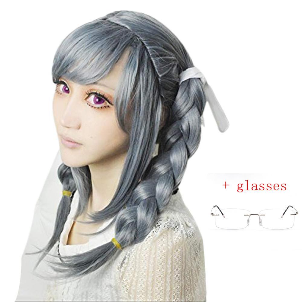 Anime Danganronpa Dangan-ronpa Peko Pekoyama Double Braided Dark Grey Synthetic Cosplay Wig For Halloween Wigs + Glasses