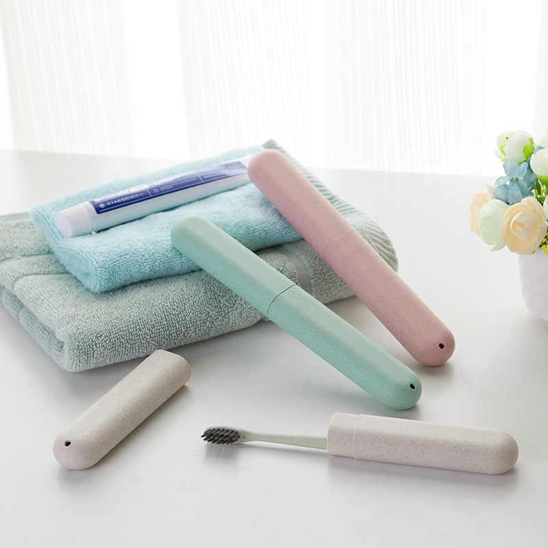 Портативная коробка для зубных щеток, держатель, крышка для хранения трубки, чехол для ложки, пыленепроницаемый, пшеничная солома, для путешествий, для ванной, пенал, держатель для зубных щеток