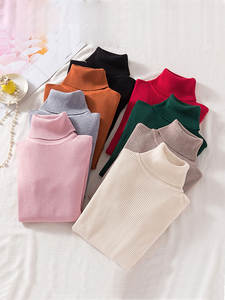 Tight Sweater Shirt Pullovers Primer Turtleneck Stretch Long-Sleeve Korean Winter Solid