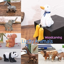 Ornaments Duck Wooden Tiger-Lion Squirrel Hand-Made Home-Decoration Lucky Crafts Animal