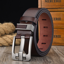 [LFMB]Mens belt leather belt men  pin buckle cow genuine leather belts