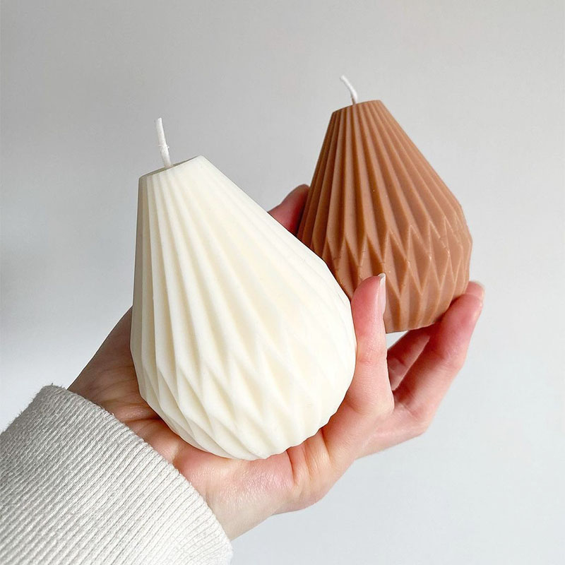 Geometric Lines Origami Pear Shape Design Candle Silicone Mold Striped Cone Candle Diy Candle Mold Handmade Candle Making