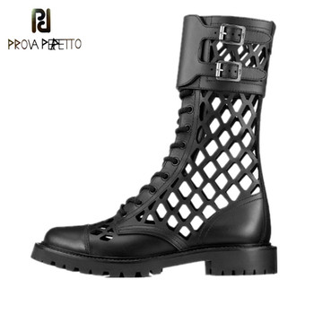 Prova Perfetto Summer Hollowing Out Ankle Boots Women Leather Runway Shoes Woman Cross Lace Up Low Heel Boots Zapatos De Mujer