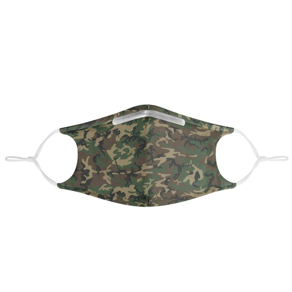 4 Pieces Of Filtered Military Green Camouflage Riding Dust Masks For Men And Women Washable Reusable Masks Non-disposable Masks