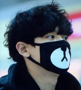 EXO Park Chanyeol Face Mask Airport Street Snap Celebrity Style Bear Dust-proof Cotton Face Mask Men And Women
