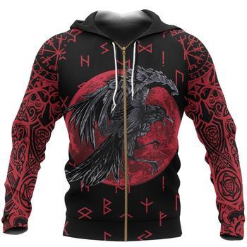 Viking Hoodie Raven Of Odin 3D Printed Mens hoodies Harajuku Streetwear Pullover Autumn Unisex Casual Jacket Tracksuit DW0155 1
