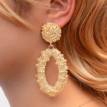 Hello Miss New retro earrings frosted geometric hollow stud cold wind embossed oval fashion womens jewelry