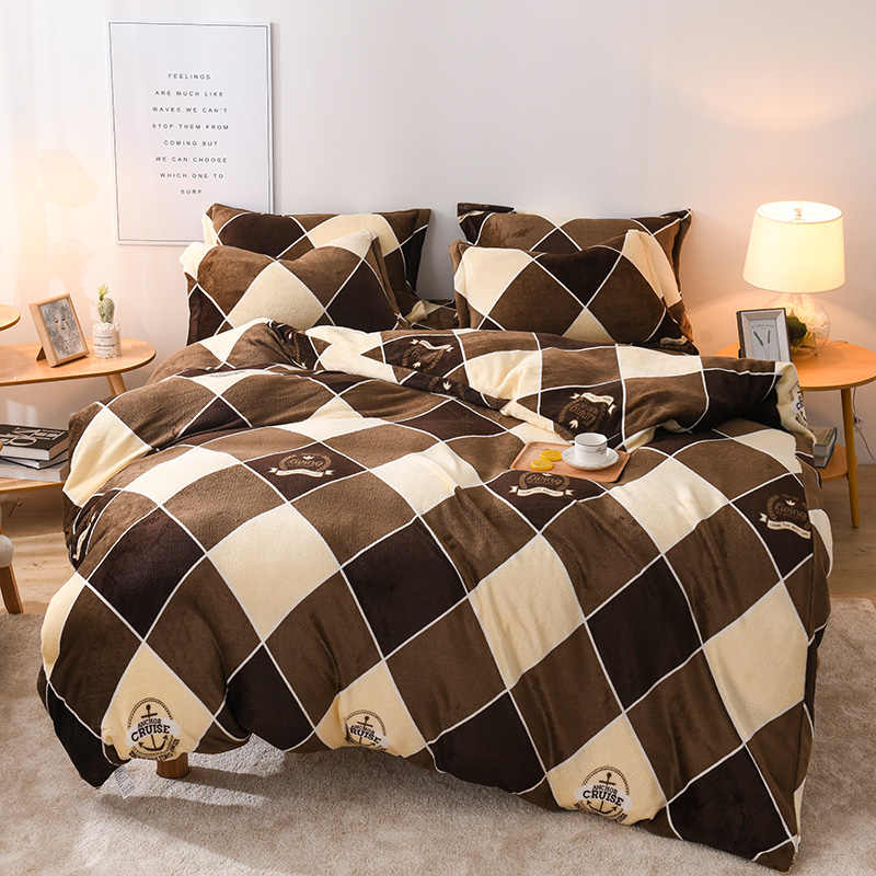 2019 bed 4pcs fannel fabric Bedding Set Duvet Cover Sheet Pillowcase King Queen Size brown plaid Bed Linen