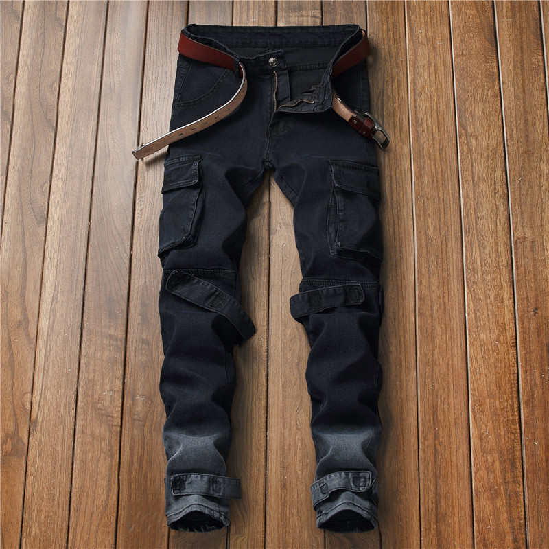 Casual New Style Men's Slim Fit Cowboy Black Large Pocket Casual Drawstring Top MEN'S Jeans