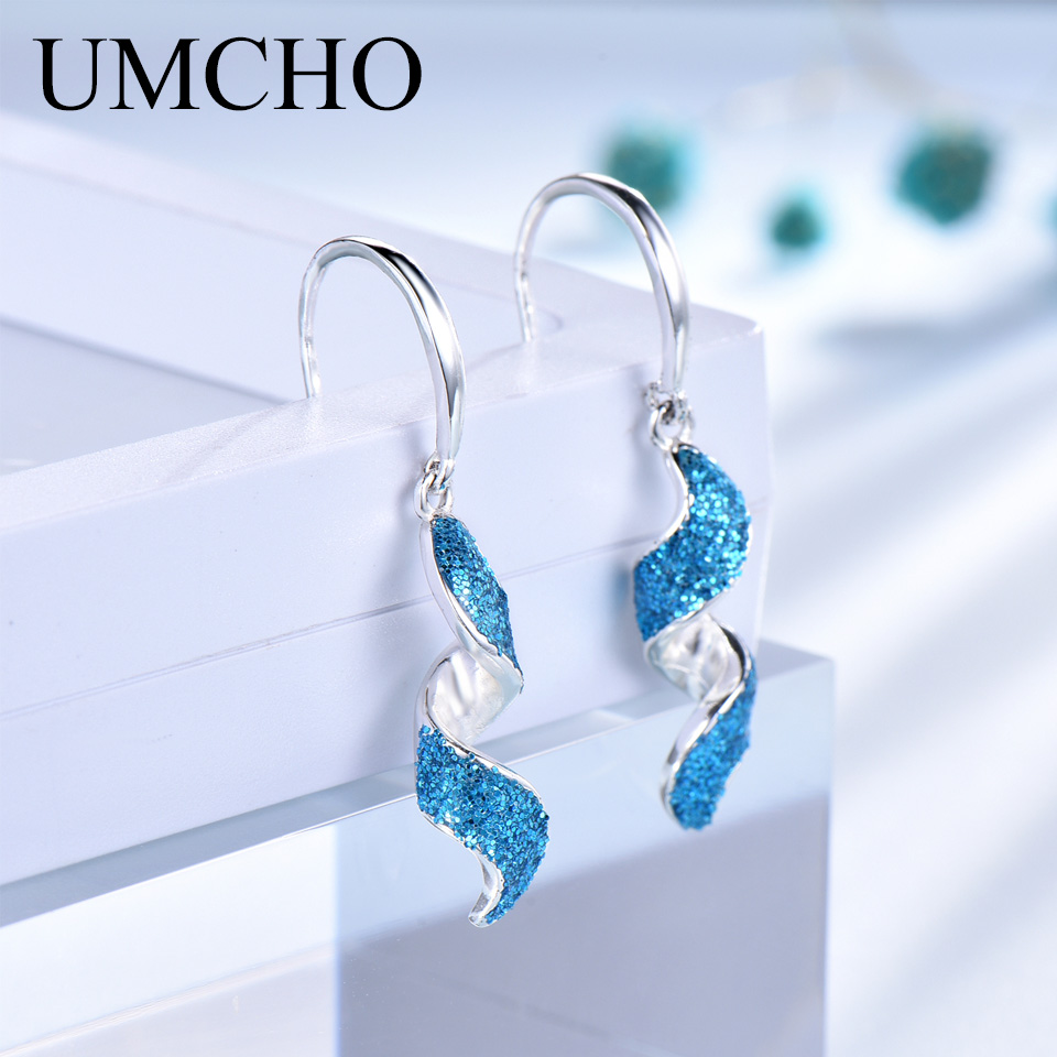 UMCHO Real Silver Blue Fequin Spiral Earrings For Women 925 Sterling Silver Drop Earrings Christmas Party Jewelry