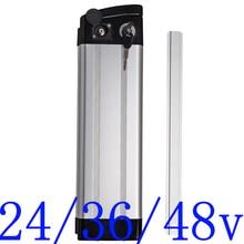 24V 36V 48V electric bike battery case 24V 36V 48V Silver Fish Ebike Aluminum housing Top discharge