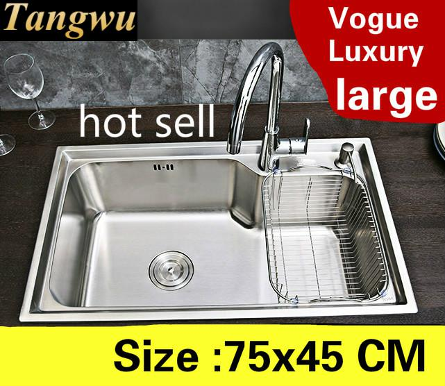Free Shipping Apartment Big Kitchen Single Trough Sink Wash Vegetables High Quality 304 Stainless Steel Luxury Hot Sell 75x45 CM