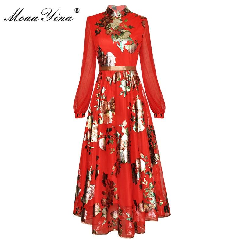 MoaaYina Fashion Designer Dress Spring Autumn Women's Dress  Stand Collar Long Sleeve Floral-Print  Elegant Dresses