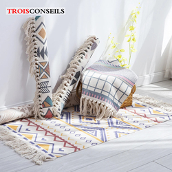 Cotton Tassels Home Weave Carpets Retro Bohemian Style Carpet Prayer Mat Living Room Carpet Bedroom Decor Bedside Rug alfombra