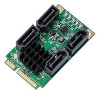 XT XINTE Mini PCIE 4 Ports SATA III PCI Express Controller Card SATA 3.0 Mini PCI E Hard Disk SSD Adapter Extension Card