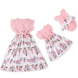 Family Matching Outfits Clothes Summer Long Dresses For Women Mother Daughter Bodycon Beach Maxi Bandage Dress Baby Girl Kids