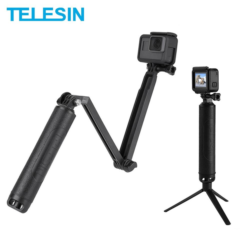 TELESIN Waterproof 3-Way Hand Grip Selfie Stick 2 In 1 Floating Grip Monopod + Tripod For GoPro Xiaomi YI SJCAM DJI Osmo Action