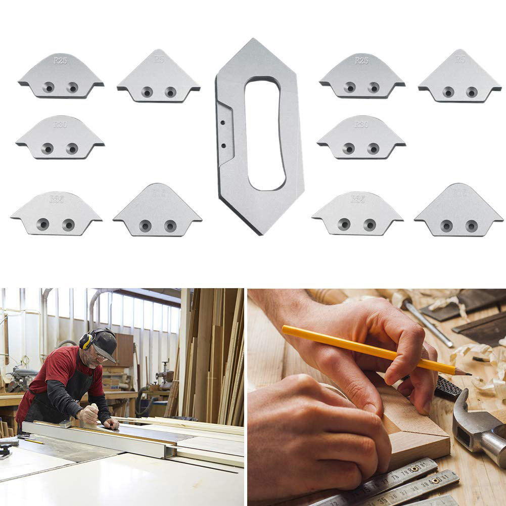8pcs Screws Radius Woodworking Grinding Templates Trimming Tool Rounded Corners Anti-rust Table Bit Router Set Chamfer Quick Jig