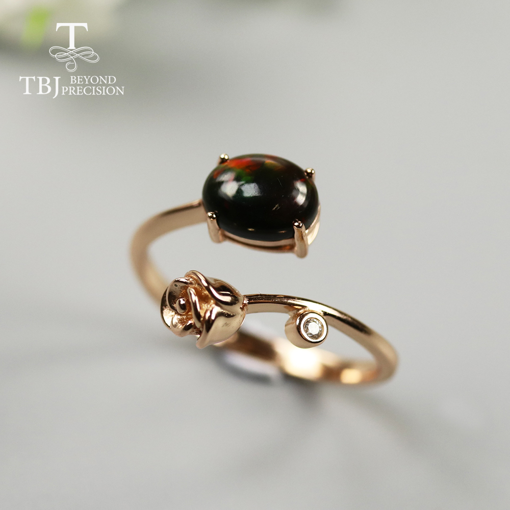 Black Opal Gemstone Ring Oval 6*8mm Natural Ethiopia Opal Gemstone Jewelry 925 Sterling Silver For Girls Rose Design Ring Love