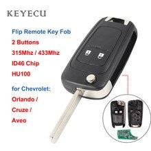 Keyecu etui z klapką obszar zdalnego kluczyk do samochodu 2 przycisk 315MHz / 433Mhz ID46 Chip dla Chevrolet Aveo Cruze Orlando 2008 2009 2010 2011 2012 2015