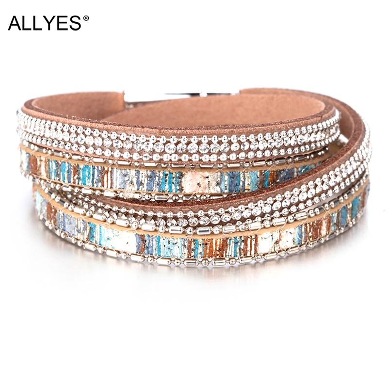 ALLYES Bracelet Jewelry Crystal Boho Double-Wrap Layered Multiple Vintage Bohemian Women title=