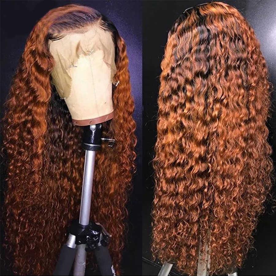 Koronkowe peruki z ludzkich włosów 13*4 brazylijskie perwersyjne kręcone ludzkie włosy peruka PrePlucked z dzieckiem włosy kręcone koronkowa peruka na przód U część peruka
