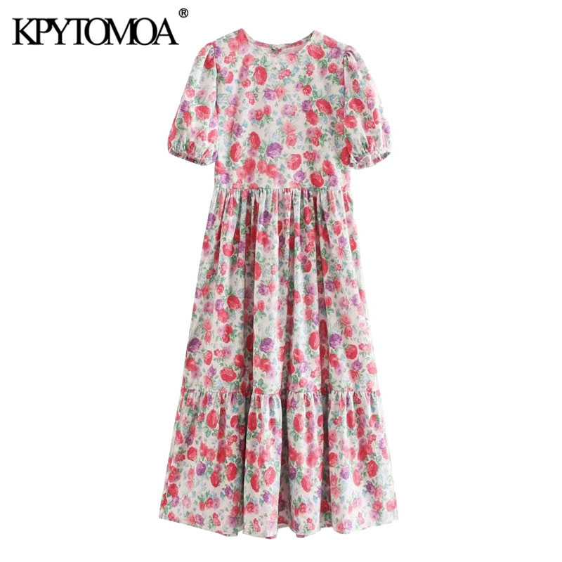 KPYTOMOA Women 2020 Chic Fashion Floral Print Pleated Midi Dress Vintage O Neck Puff Sleeve Female Dresses Vestidos Mujer